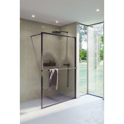 Riho Lucid GD400 140 cm-es matt fekete zuhanyfal GD414B000