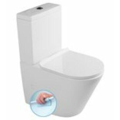 Sapho PACO WC RIMLESS kombi alsó/hátsó kifolyású, ülőkével (Soft Close), tartállyal, króm,duálgombos öblít (PC1012R)