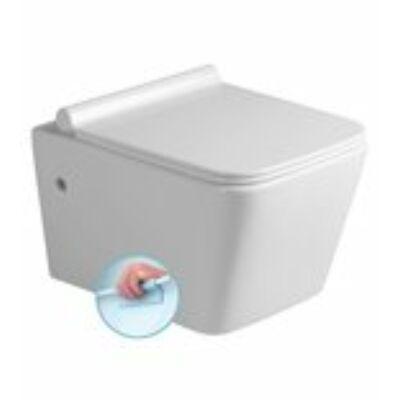 Sapho PORTO fali WC, RIMLESS, 36x52cm WC ülőke, SLIM, Soft Close, duroplast, fehér/króm (PZ102R)